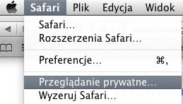 Tryb prywatny Safari MacBook OS X