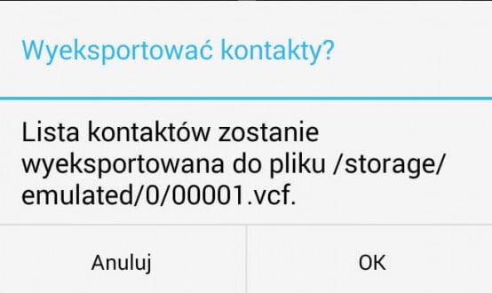 Eksport kontaktów do pliku vCard z rozszerzeniem vcf w systemie Android KitKat