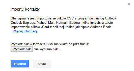 Importowanie kontaktów na konto Google