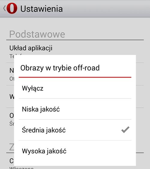 Wybór kompresji obrazów w trybie off-road w przeglądarce Opera