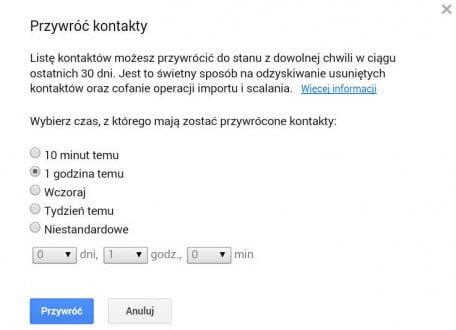 Informacja o przywracaniu kontaktów na koncie Google