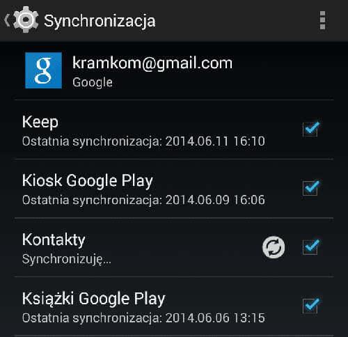 Synchronizacja kontaktów Google z telefonem Android