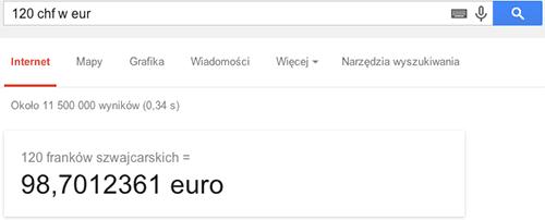 Przykład przeliczania walut w wyszukiwarce Google