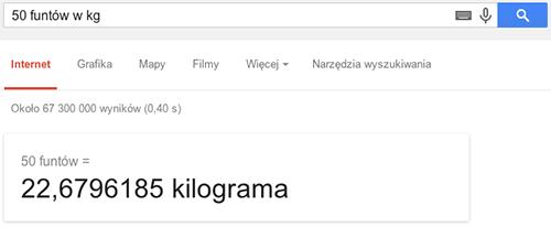 Przeliczanie jednostek w wyszukiwarce Google