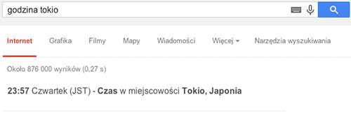 Aktualna godzina w dowolnej miejscowości lub kraju w wynikach Google