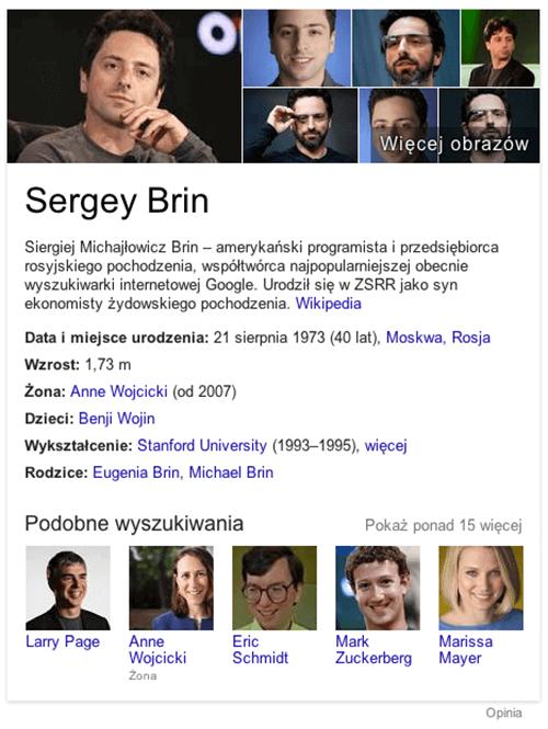 Sergey Brin - przykładowy wygląd grafu wiedzy w wyszukiwarce Google