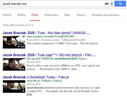 """Wyniki wyszukiwania filmu na przykładową frazę """"Jacek Braciak ZUS"""" - wyszukiwarka filmów Google"""