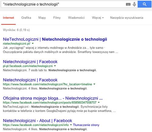 """Przykład wyszukiwania dokładnej frazy """"nietechnologicznie o technologii"""""""