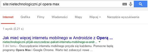 Szukanie informacji na konkretnej stronie na przykładzie domeny nietechnologiczni.pl i frazy opera max