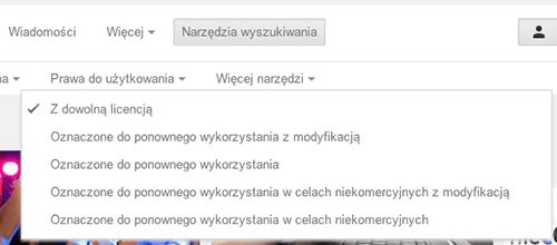 Szukanie zdjęć z określonym prawa do użytkowania w wyszukiwarce Google