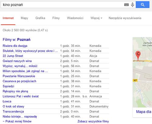 Wyszukiwarka Google umożliwia sprawdzenie aktualnego repertuaru kin w wybranym mieście