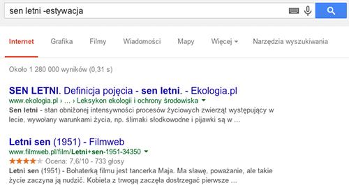 """Jak wykluczyć z wyników wyszukiwania wybrane słowa na przykładzie """"estywacja""""."""