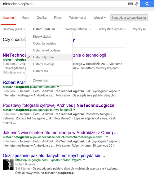 Ograniczenie wyników wyszukiwania do określonych dat w wyszukiwarce Google