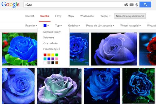 Przykład jak szukać określonego koloru w wyszukiwarce grafiki Google