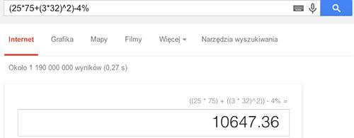 Wykorzystanie wyszukiwarki Google do wykonywania obliczeń matematycznych