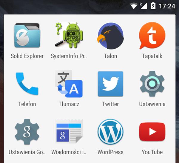 Wybór ustawień z listy programów, by włączyć tethering w telefonie z systemem Android