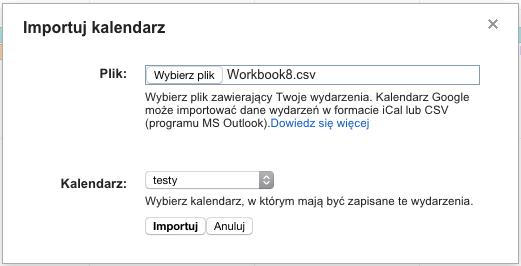 Wygląd okna importowania kalendarzy Google