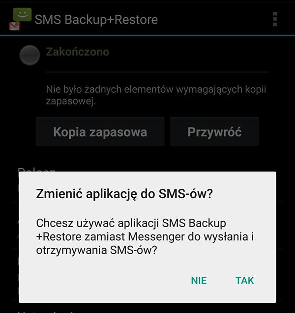 Komunikat o zmianie domyślnej aplikacji do wysyłania SMS w nowych wersjach Androida - od KitTak 4.4