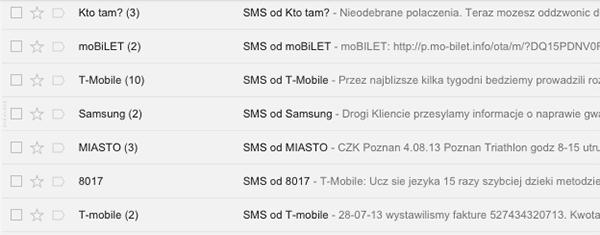 Wygląd wątków w programie Gmail utworzonych dla kopii zapasowej SMS w programie SMS Backup+