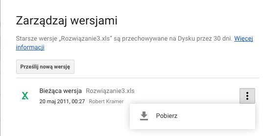 Zarządzanie wersjami pliku na Dysku Google