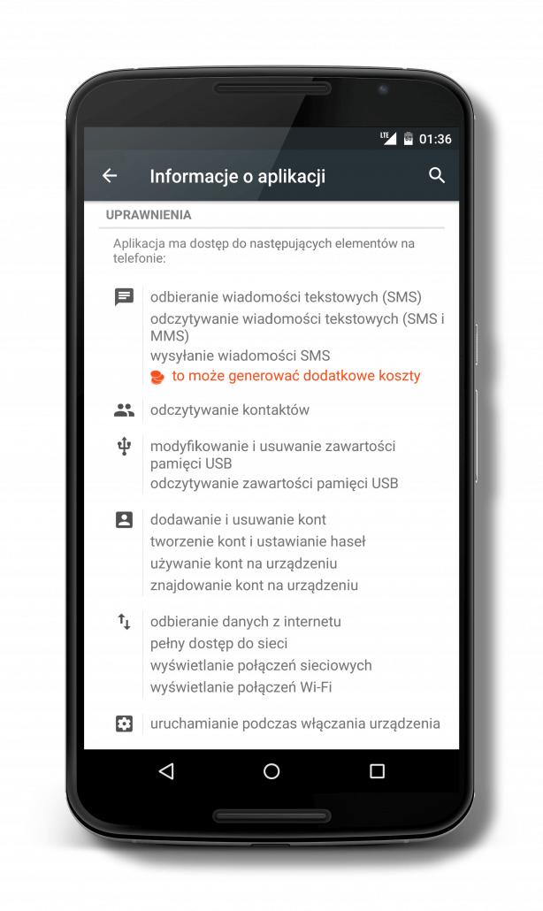 Duże uprawnienia aplikacji Pushbullet - SMS, kontakty