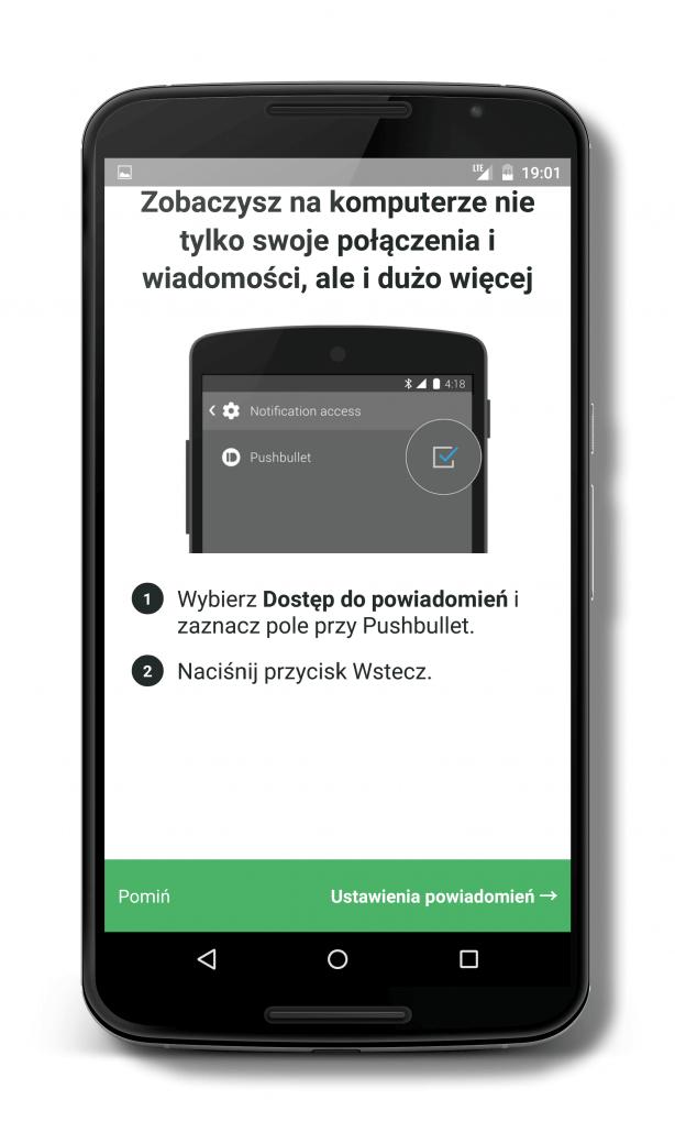 Instalacja programu Pushbullet w telefonie z systemem Android wymaga akceptacji uprawnień do czytania SMS i kontaktów