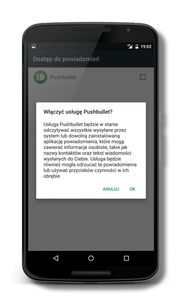 Aplikacja Pushbullet wymaga uprawnień do czytania i wysyłania SMS oraz dostępu do kontaktów