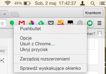 Ustawienia dostępne w rozszerzeniu Pushbullet dla Chrome