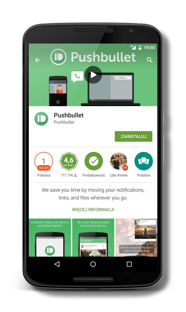 Pobieranie aplikacji Pushbullet ze sklepu Play Google