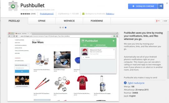Instalacja rozszerzenia Pushbullet w przeglądarce Chrome