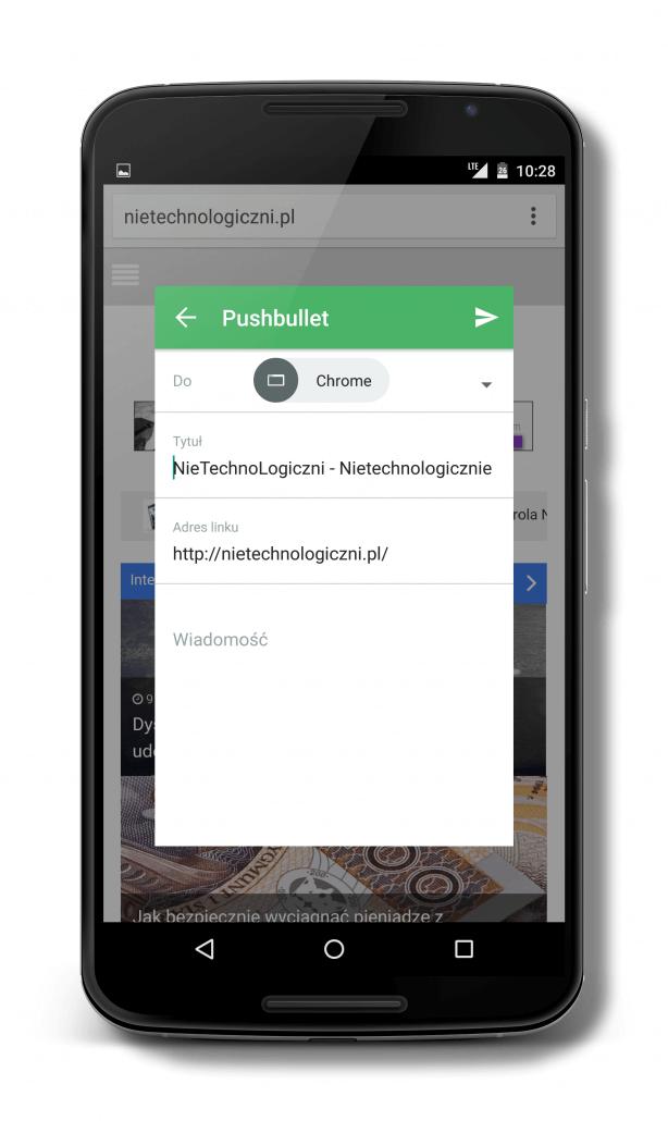 Szybkie wysyłanie linku z Chrome na inne urządzenie przez Pushbullet