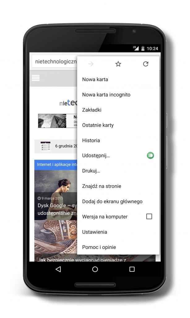 Udostępnianie linków z aplikacji Chrome w smartfonie na komputer lub inne urządzenie