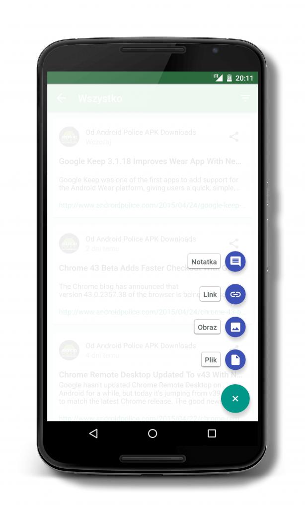 Wysyłanie linków, plików, notatek, zdjęć w systemie Android Lollipop z aplikacją Pushbullet