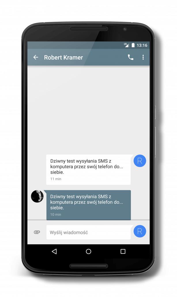 SMS wysłany z komputera przez aplikację Pushbullet widoczny jest w aplikacji obsługującej SMS w telefonie