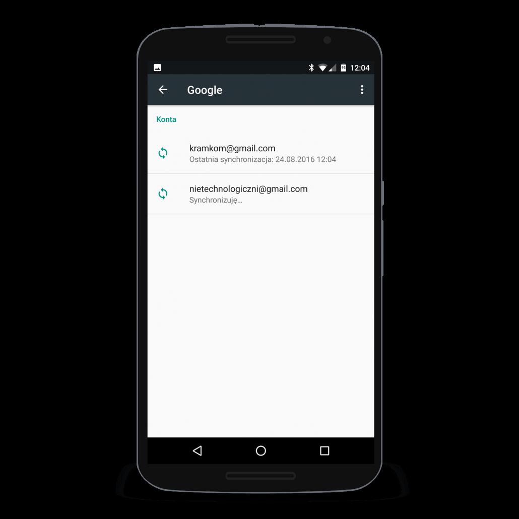 Widok konta Google dodanego do telefonu z systemem Android