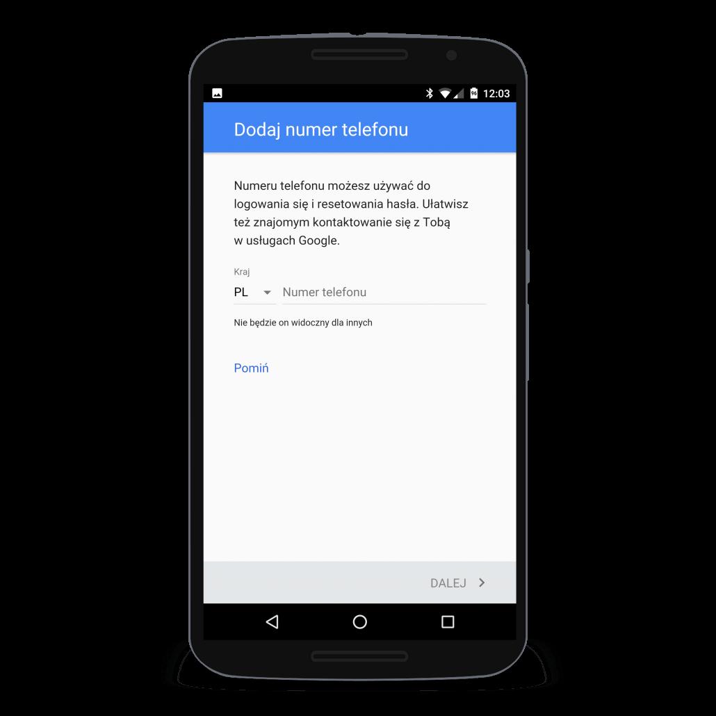 Numer telefonu dodany przy tworzeniu konta Google pozwala odzyskać hasło