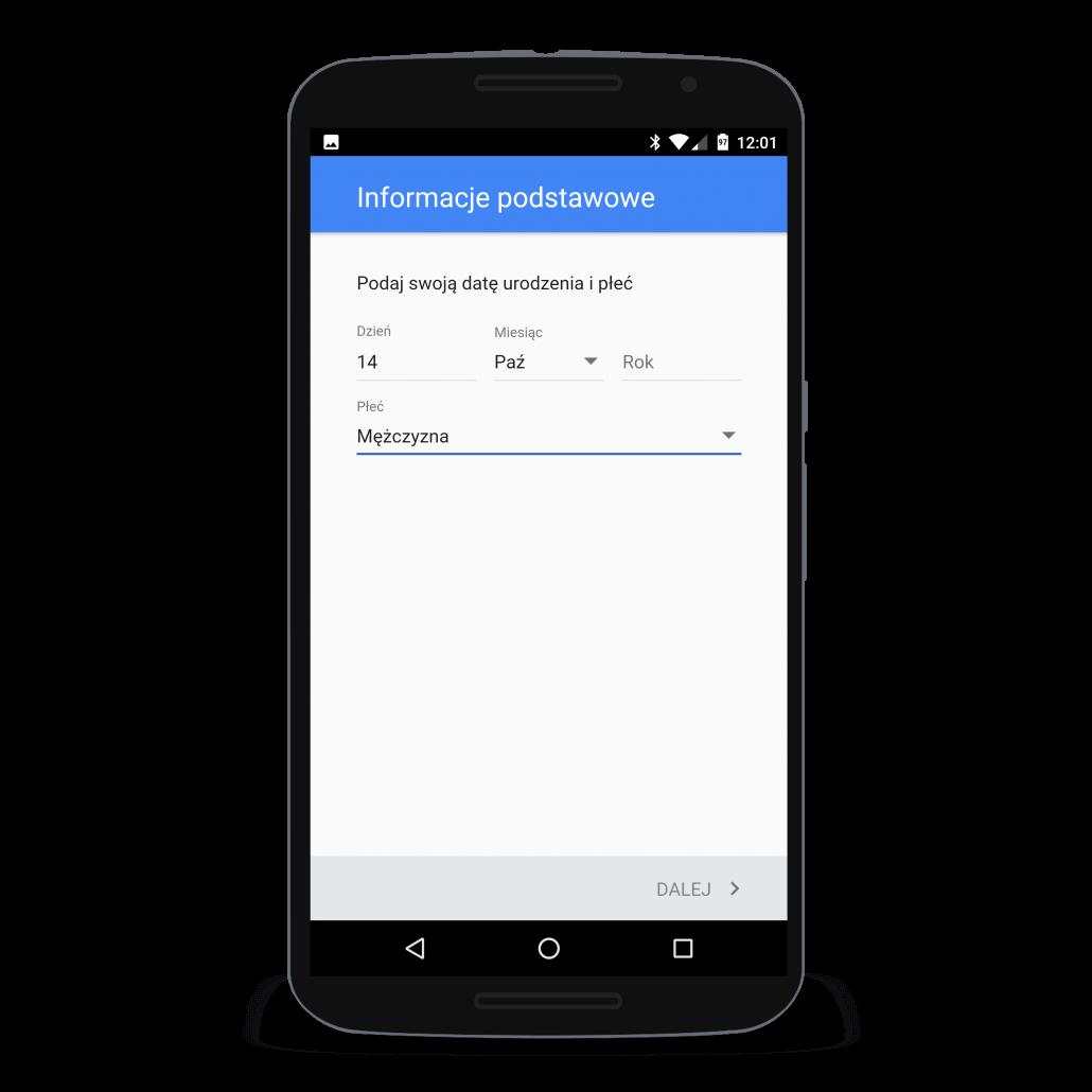 Chcąc utworzyć konto Google należy podać datę urodzin