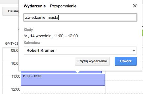 Kalendarz Google w komputerze - dodawanie wydarzenia w widoku tygodnia