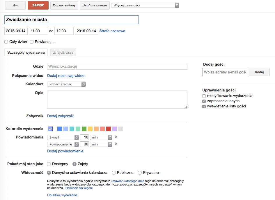 Okno edycji wydarzenia w Kalendarzu Google w laptopie