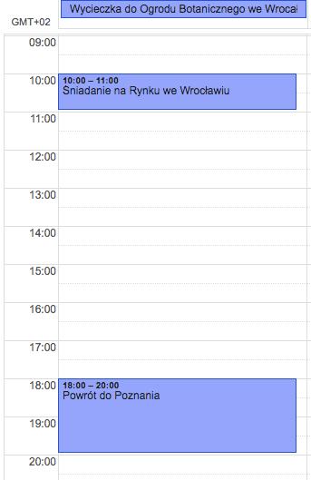 Widok wydarzeń w Kalendarzu Google w widoku dnia