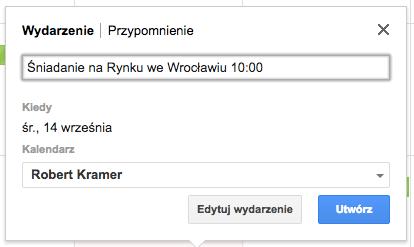 Jak dodać nowe wydarzenie w Kalendarzu Google w komputerze z godziną początkową