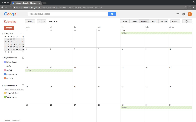 Główne okno wyglądu aplikacji Kalendarza Google w kmputerze