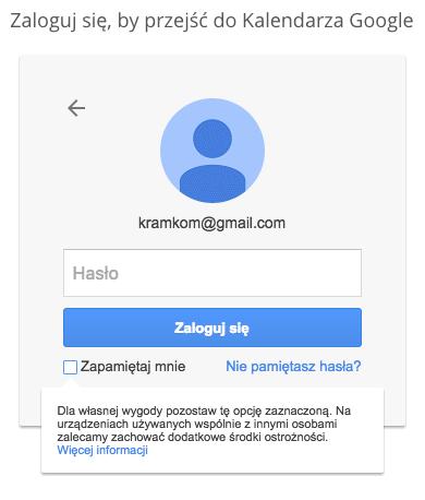 Konto Google - okno logowania, wygląd w komputerze