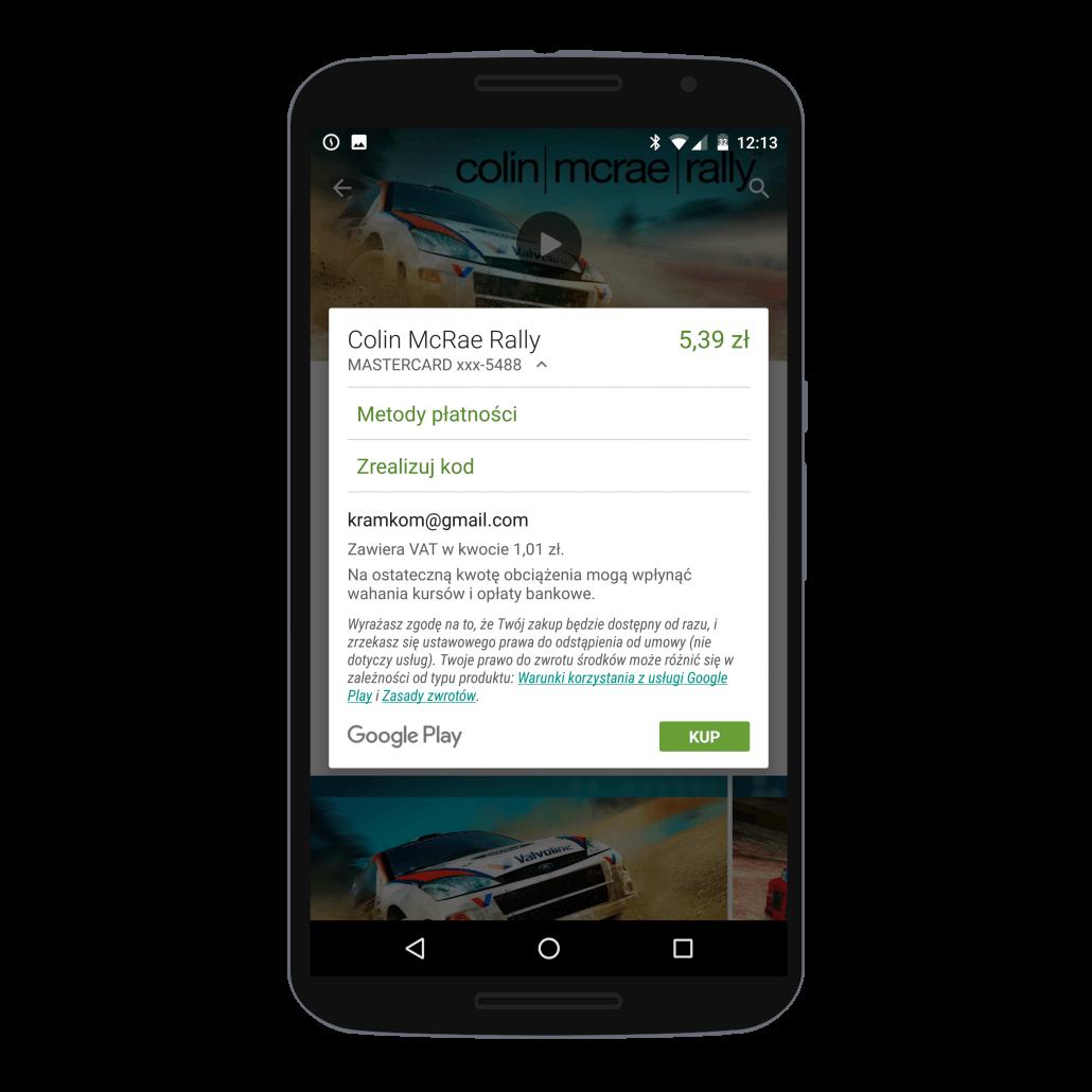 Sposoby płatności za grę lub aplikację w sklepie Google Play na Androidzie