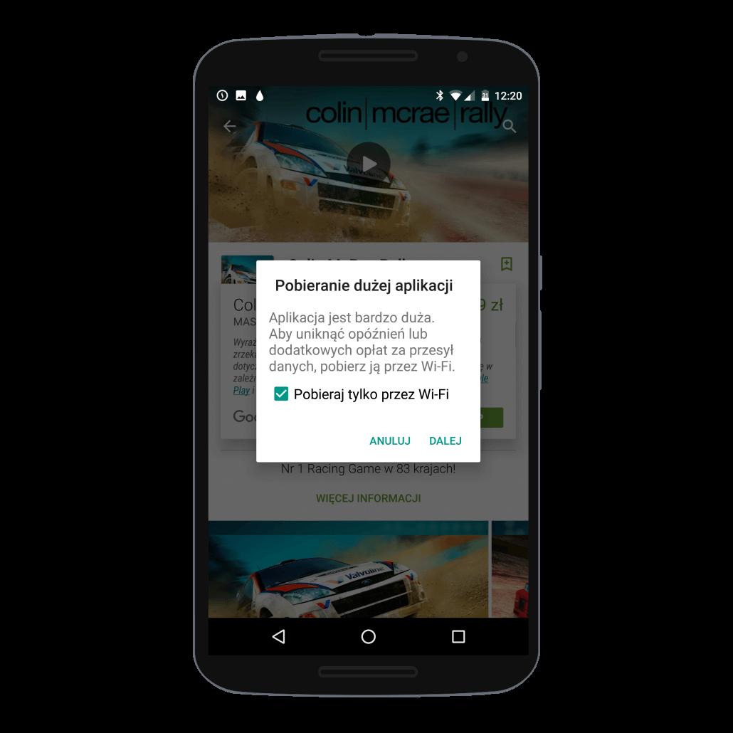 Pobranie dużej gry lub aplikacji ze sklepu Google Play - komunikat