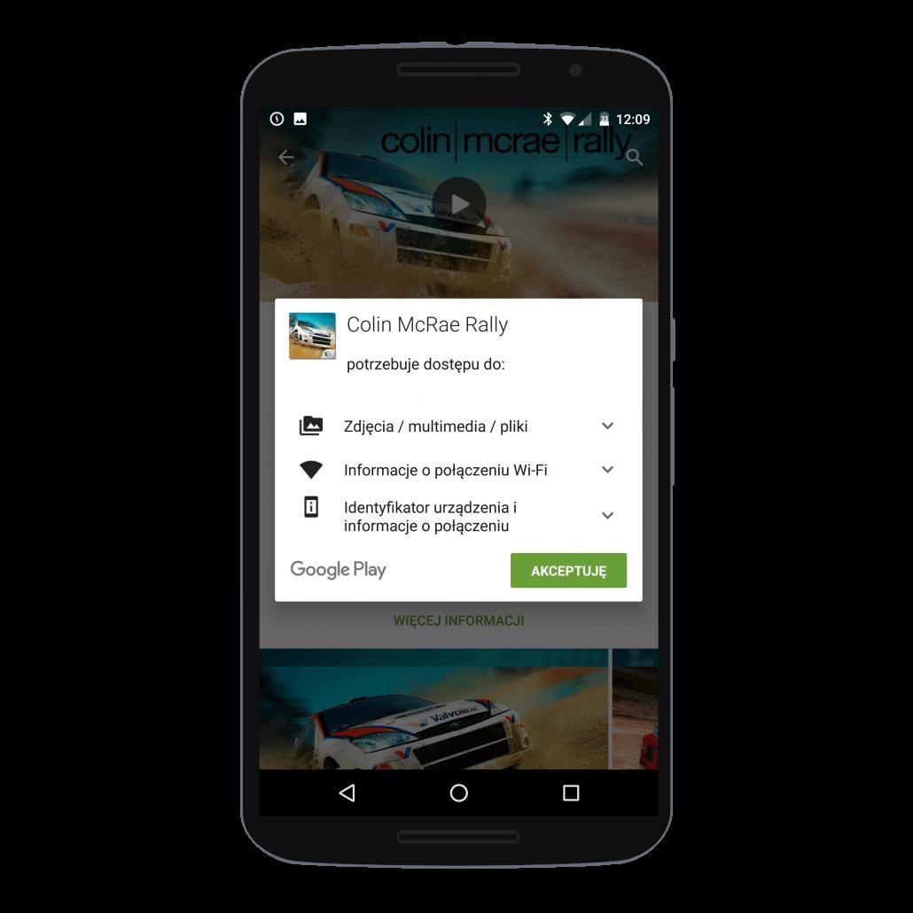 Akceptacja dostępu do danych z telefonu przed kupnem gry