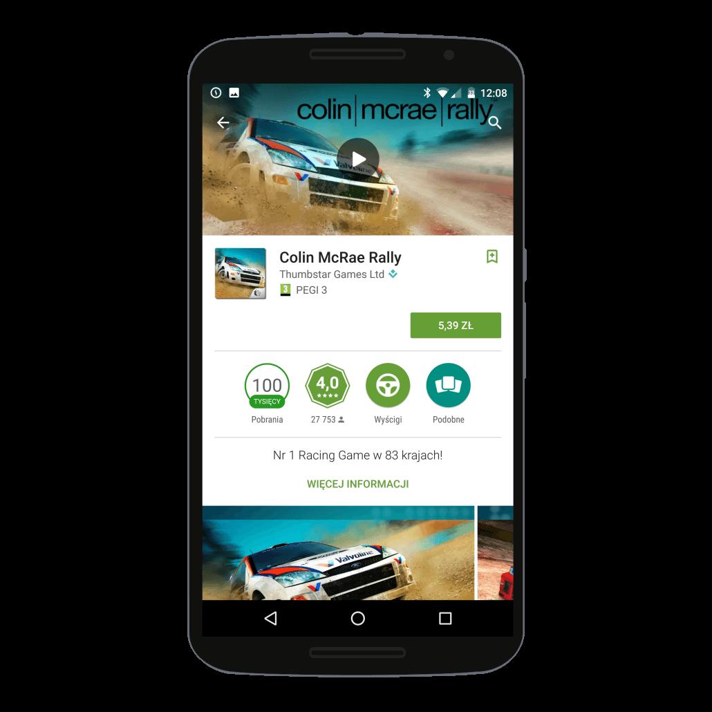 Sklep Google Play - widok strony do płatnej gry