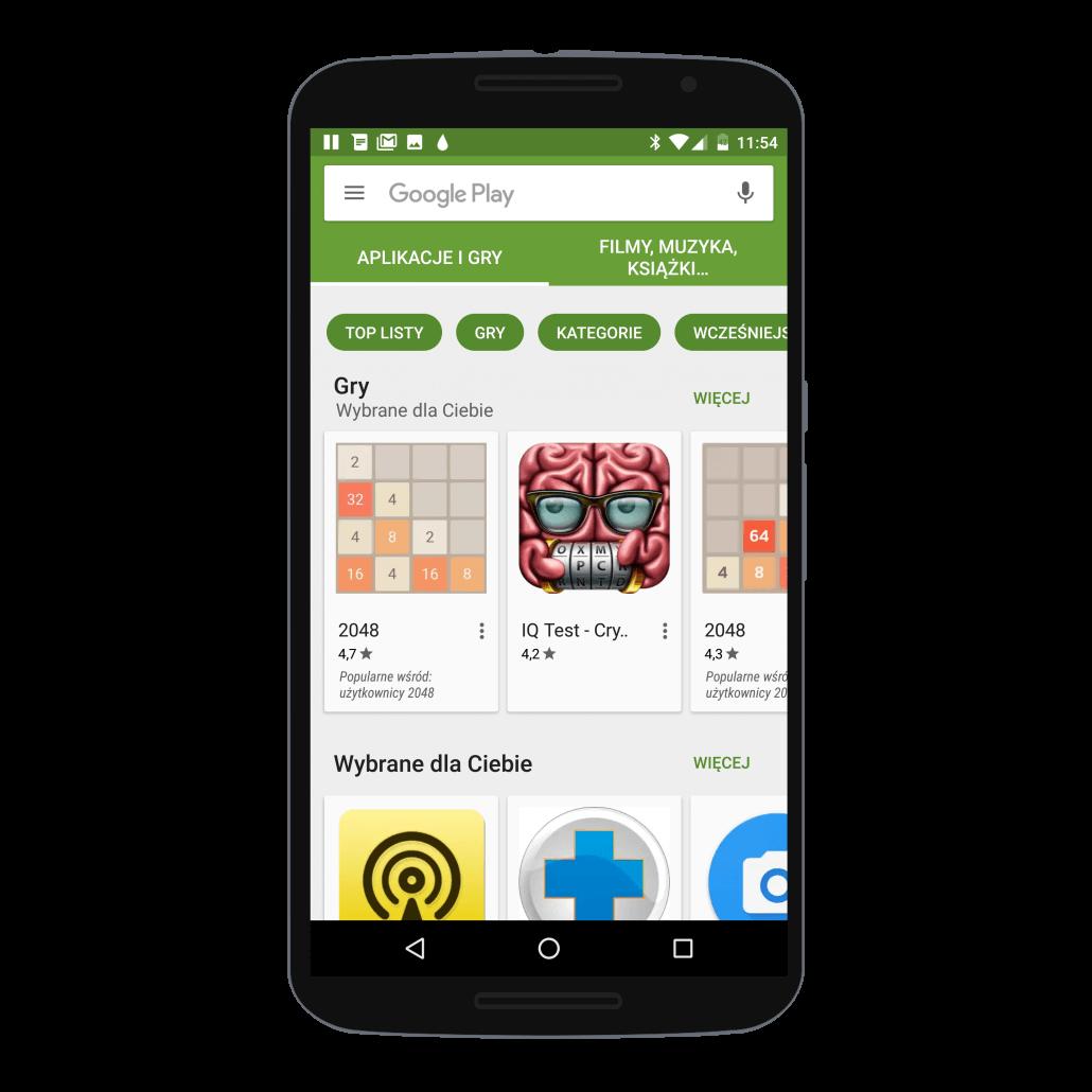 Sprawdzenie w sklepie Google Play, czy konto Google dodane jest do telefonu