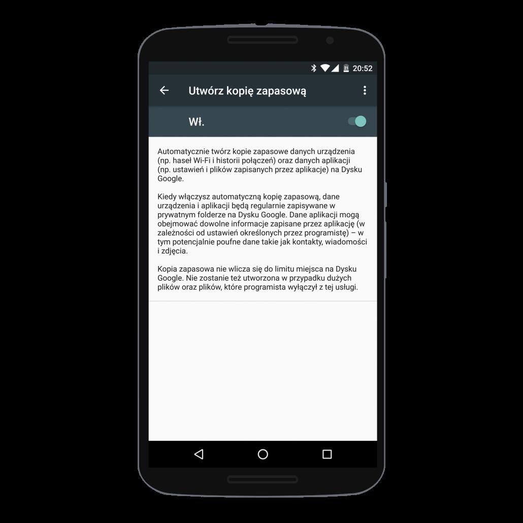 Tworzenie kopii zapasowej ustawień i aplikacji w Androidzie